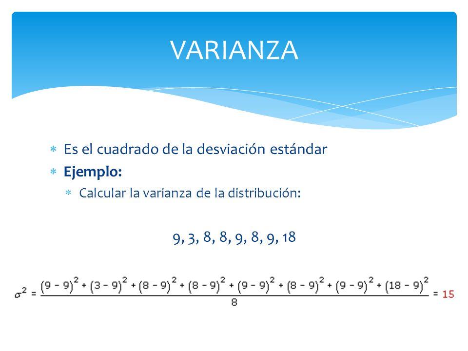 VARIANZA Es el cuadrado de la desviación estándar Ejemplo: