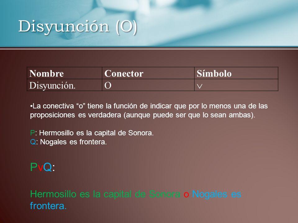 Disyunción (O) PvQ: Nombre Conector Símbolo Disyunción. O 