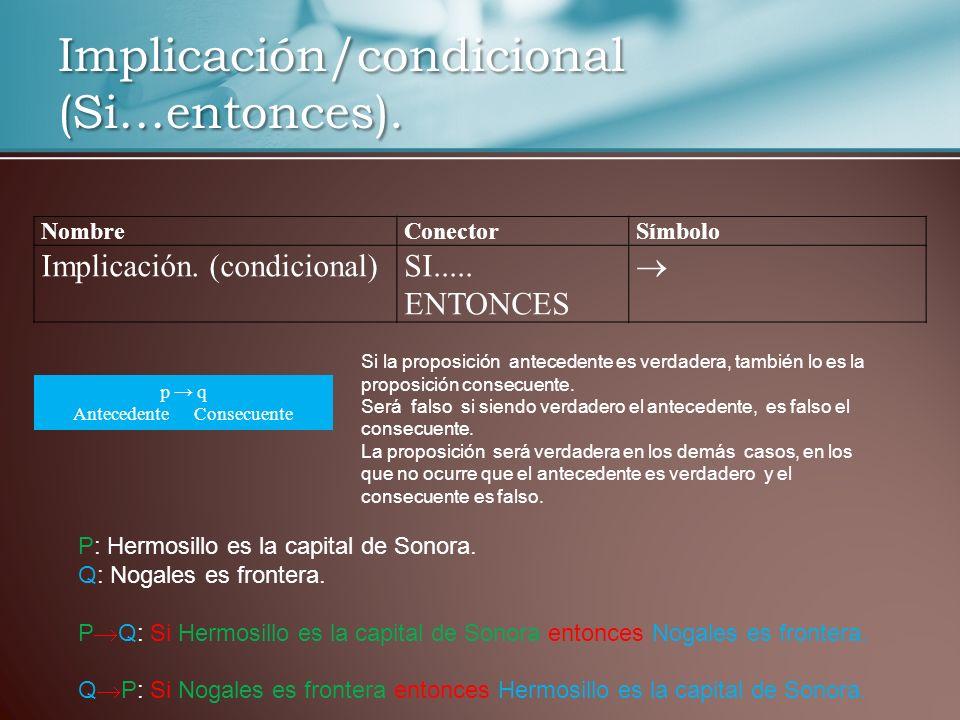 Implicación/condicional (Si…entonces).