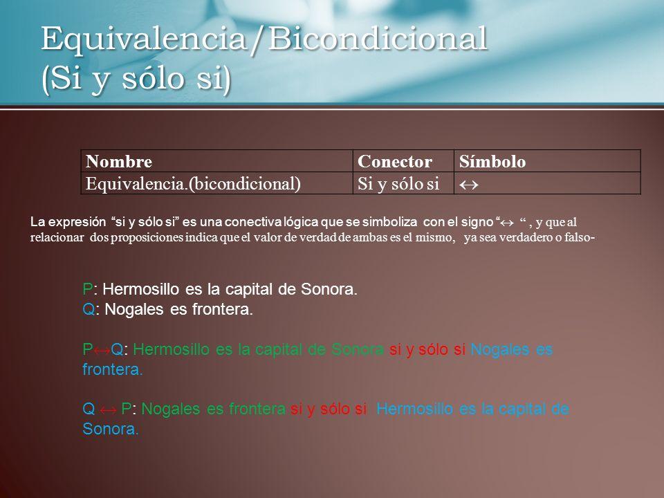 Equivalencia/Bicondicional (Si y sólo si)