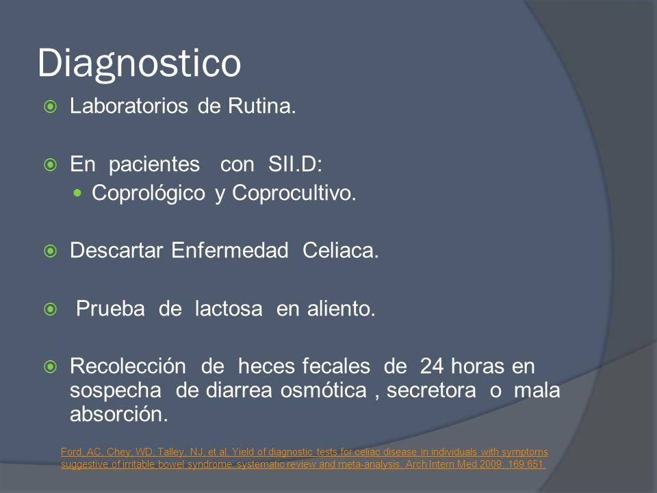 Diagnostico Laboratorios de Rutina. En pacientes con SII.D: