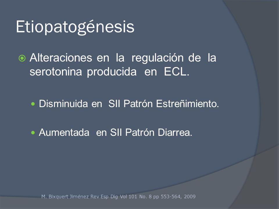Etiopatogénesis Alteraciones en la regulación de la serotonina producida en ECL. Disminuida en SII Patrón Estreñimiento.