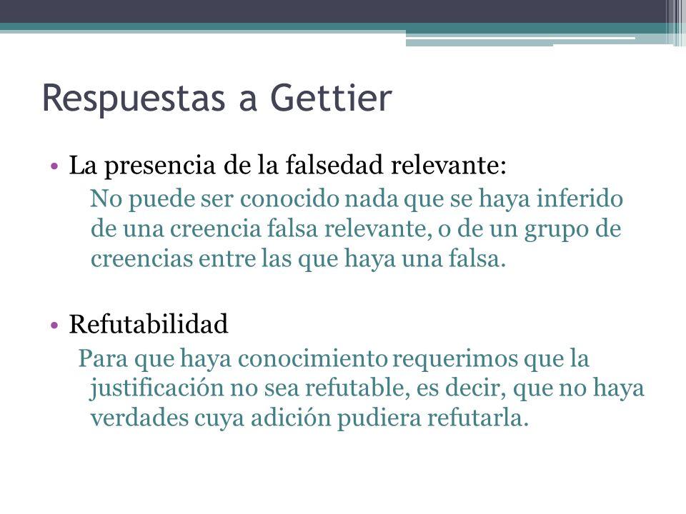 Respuestas a Gettier La presencia de la falsedad relevante: