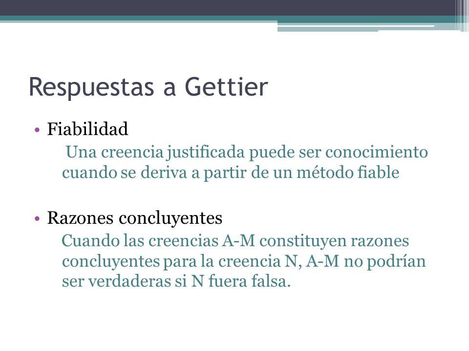 Respuestas a Gettier Fiabilidad Razones concluyentes