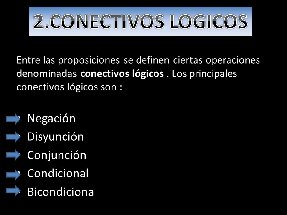 2.CONECTIVOS LOGICOS Negación Disyunción Conjunción Condicional