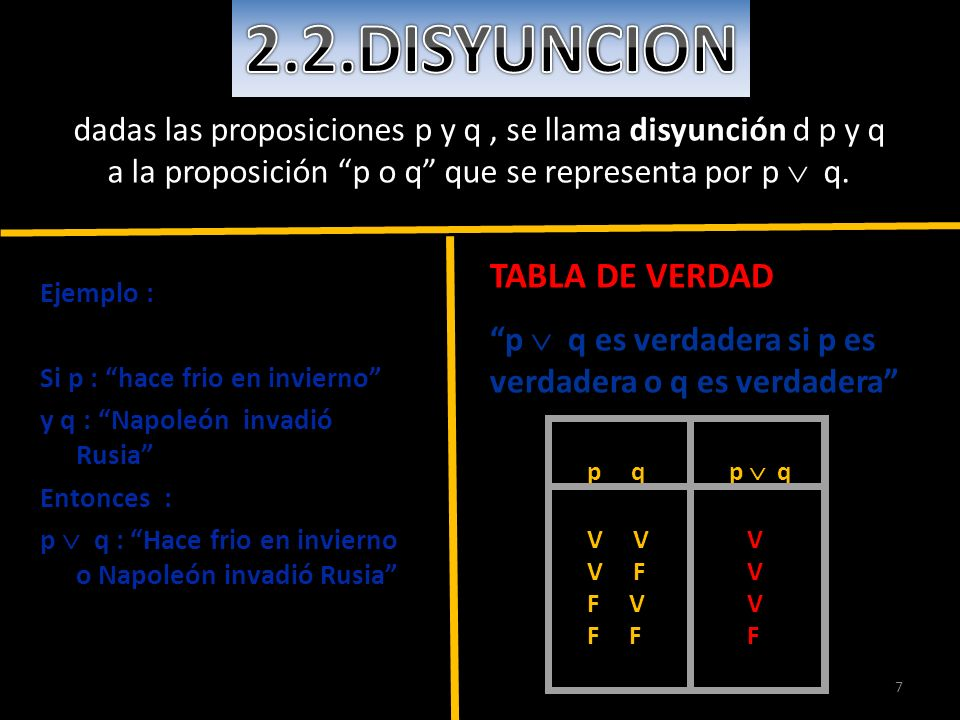 2.2.DISYUNCION TABLA DE VERDAD