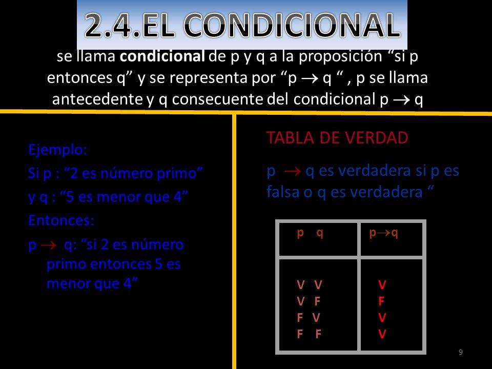 2.4.EL CONDICIONAL TABLA DE VERDAD