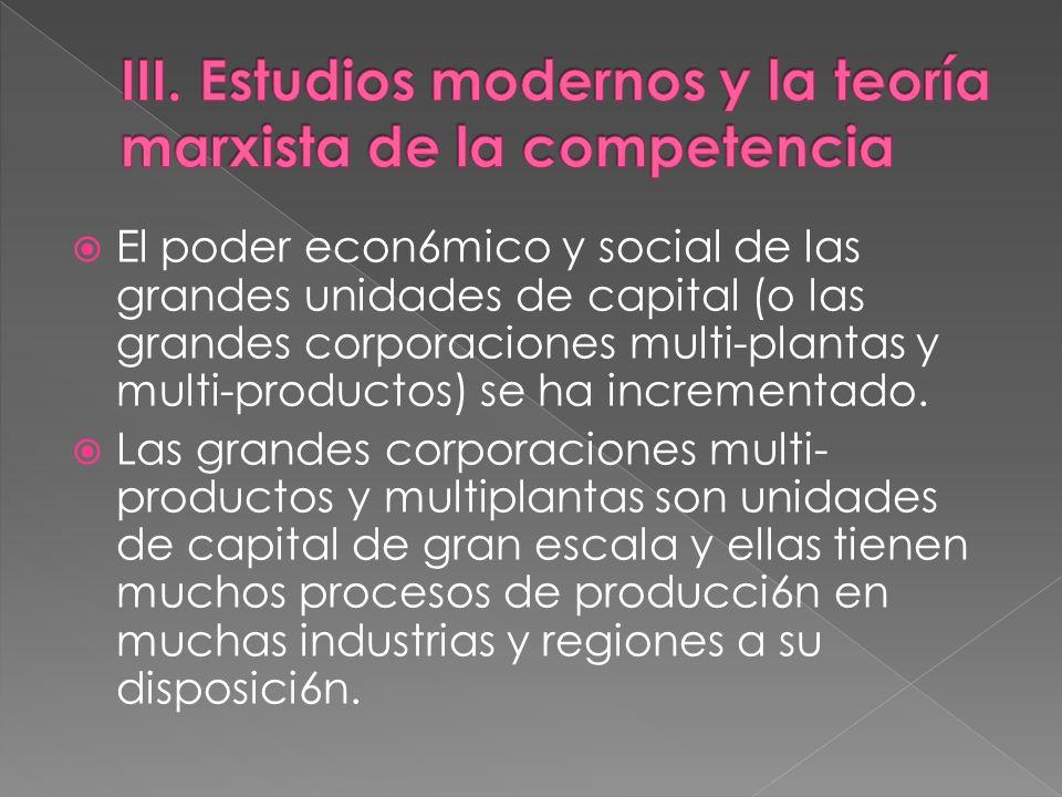 III. Estudios modernos y la teoría marxista de la competencia