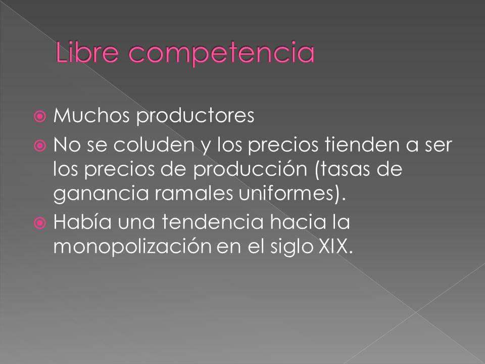 Libre competencia Muchos productores