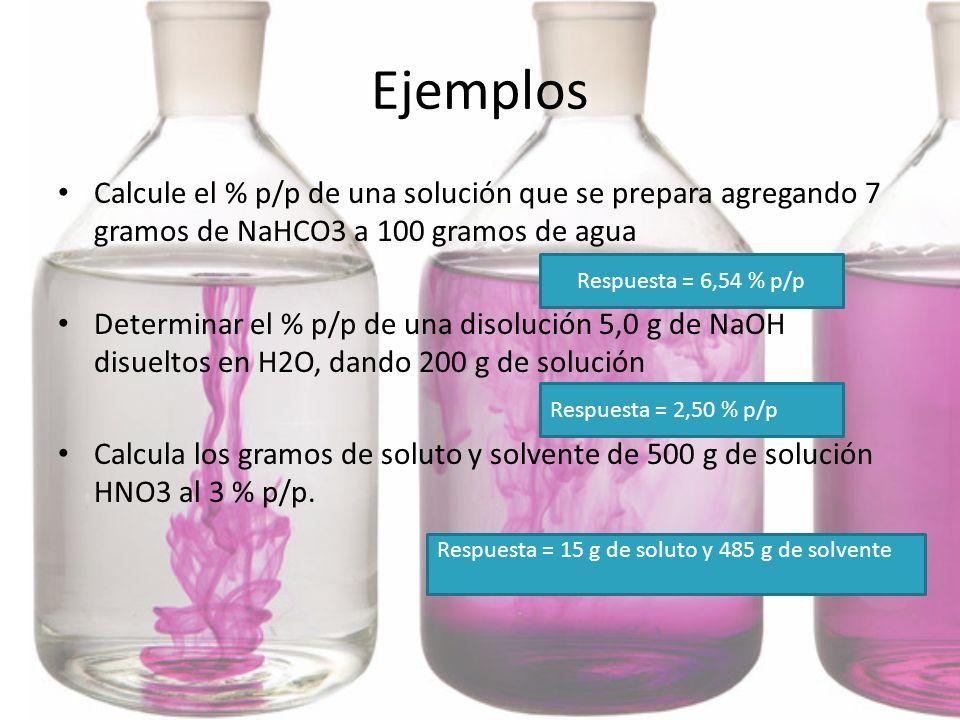 EjemplosCalcule el % p/p de una solución que se prepara agregando 7 gramos de NaHCO3 a 100 gramos de agua.