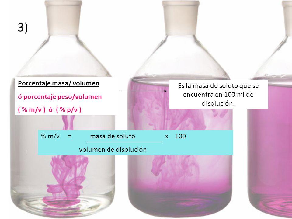 Es la masa de soluto que se encuentra en 100 ml de disolución.