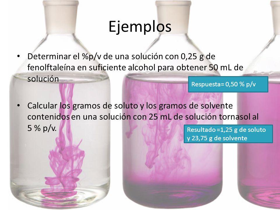 Ejemplos Determinar el %p/v de una solución con 0,25 g de fenolftaleína en suficiente alcohol para obtener 50 mL de solución.