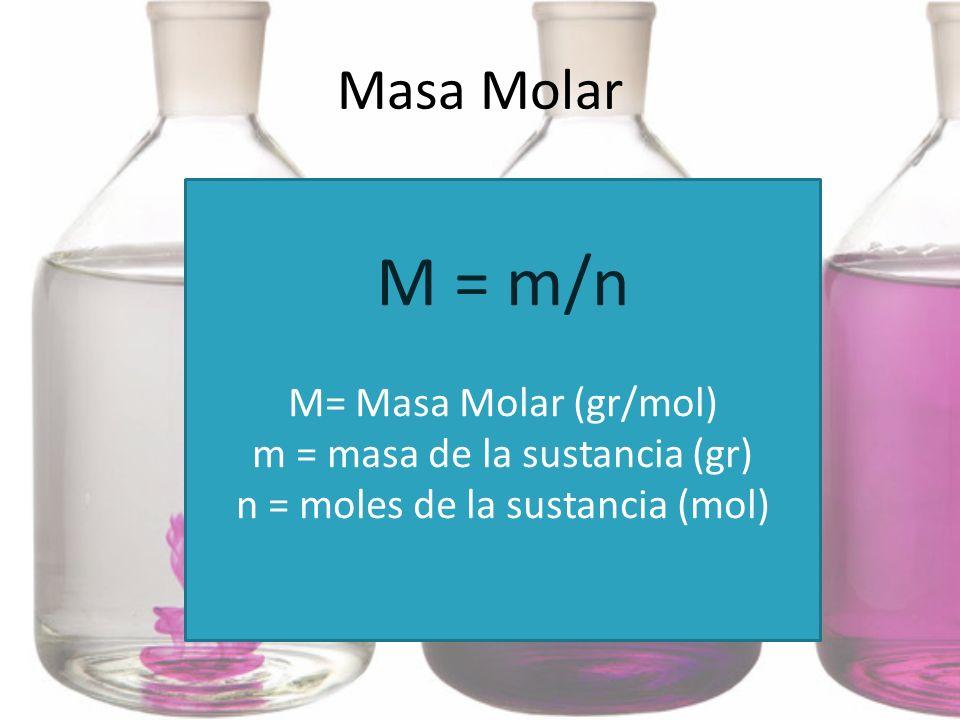 M = m/n Masa Molar M= Masa Molar (gr/mol)