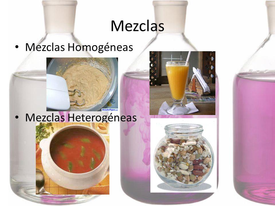 Mezclas Mezclas Homogéneas Mezclas Heterogéneas
