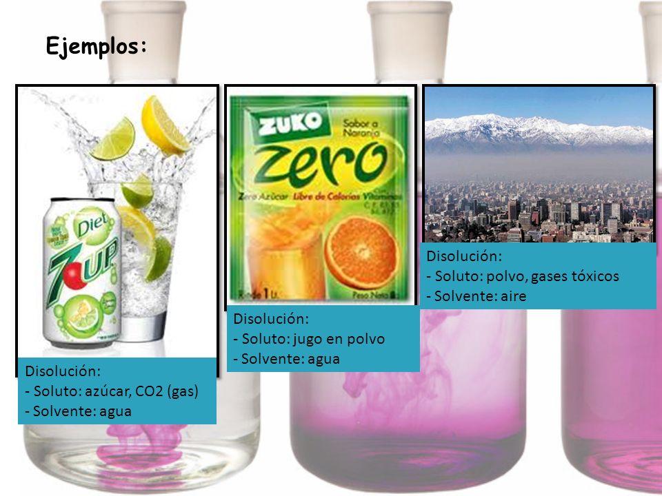 Ejemplos: Disolución: - Soluto: polvo, gases tóxicos Solvente: aire
