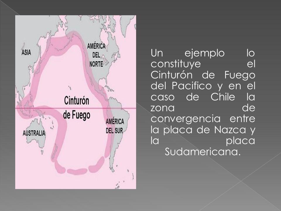 Un ejemplo lo constituye el Cinturón de Fuego del Pacifico y en el caso de Chile la zona de convergencia entre la placa de Nazca y la placa Sudamericana.