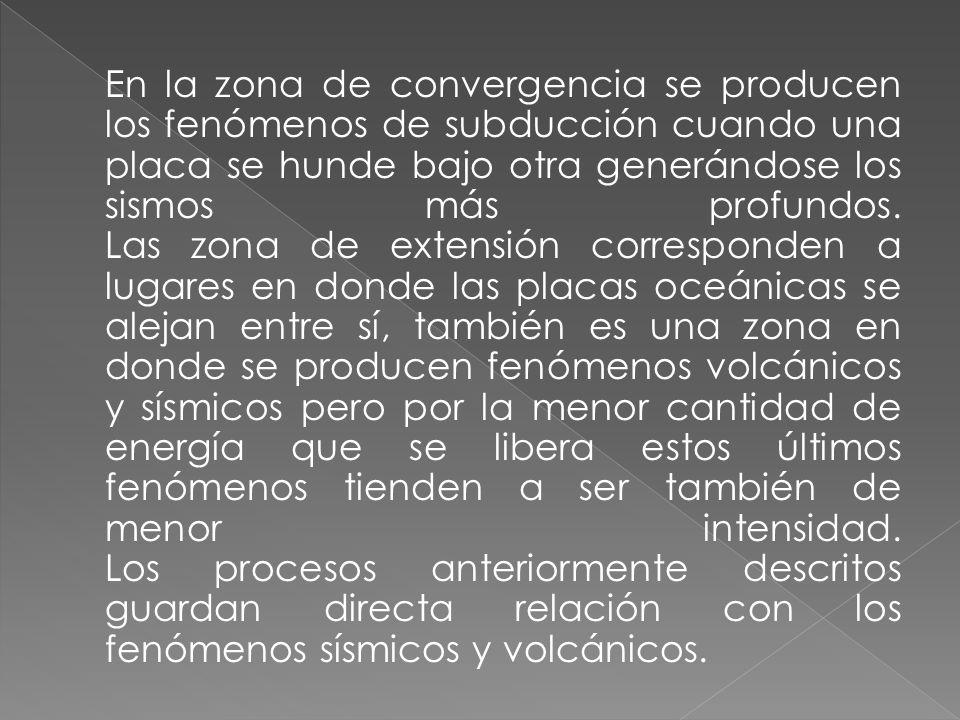 En la zona de convergencia se producen los fenómenos de subducción cuando una placa se hunde bajo otra generándose los sismos más profundos.