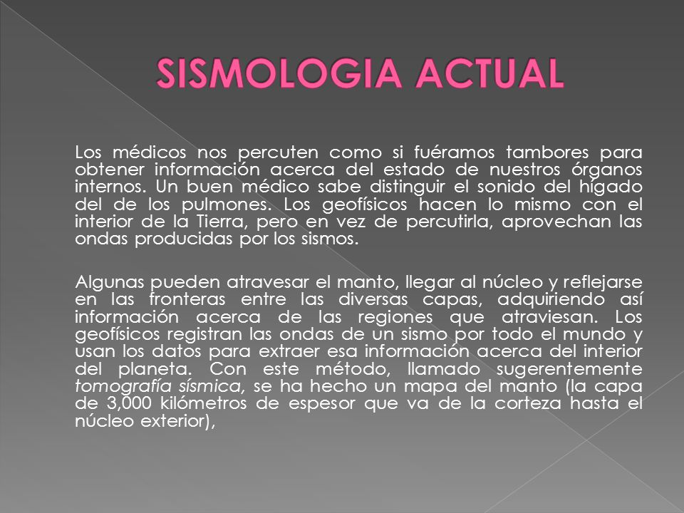 SISMOLOGIA ACTUAL