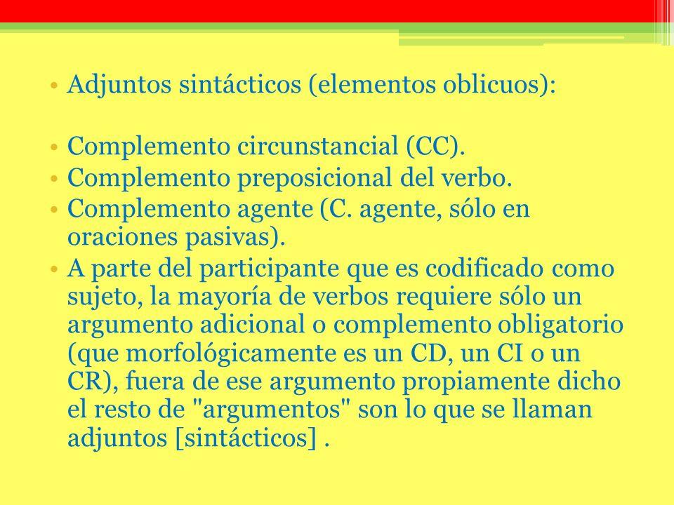 Adjuntos sintácticos (elementos oblicuos):
