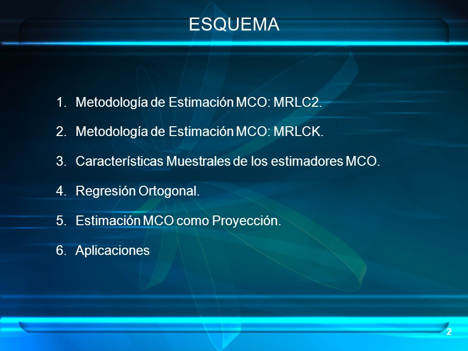 ESQUEMA Metodología de Estimación MCO: MRLC2.