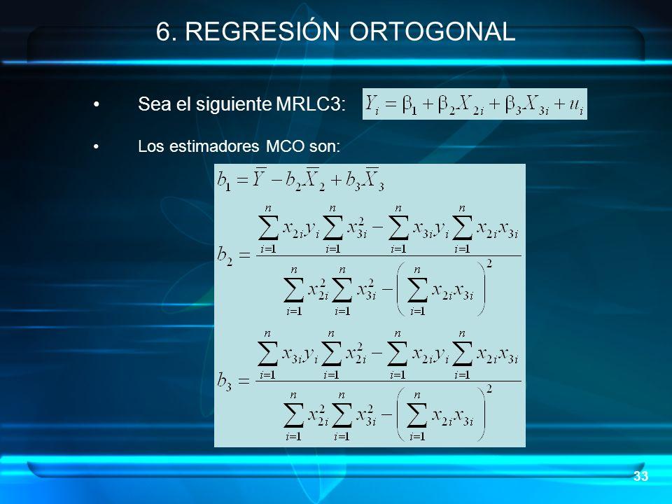 6. REGRESIÓN ORTOGONAL Sea el siguiente MRLC3:
