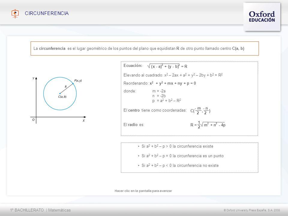 CIRCUNFERENCIA La circunferencia es el lugar geométrico de los puntos del plano que equidistan R de otro punto llamado centro C(a, b)