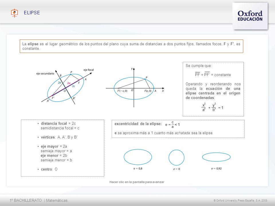 ELIPSE La elipse es el lugar geométrico de los puntos del plano cuya suma de distancias a dos puntos fijos, llamados focos, F y F', es constante.