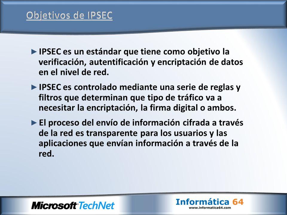 Objetivos de IPSEC IPSEC es un estándar que tiene como objetivo la verificación, autentificación y encriptación de datos en el nivel de red.