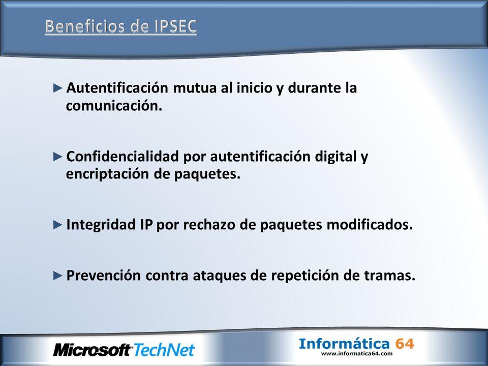 Beneficios de IPSEC Autentificación mutua al inicio y durante la comunicación.