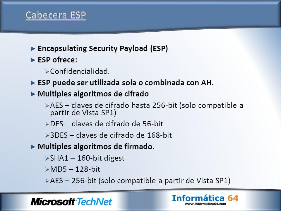 Cabecera ESP Encapsulating Security Payload (ESP) ESP ofrece:
