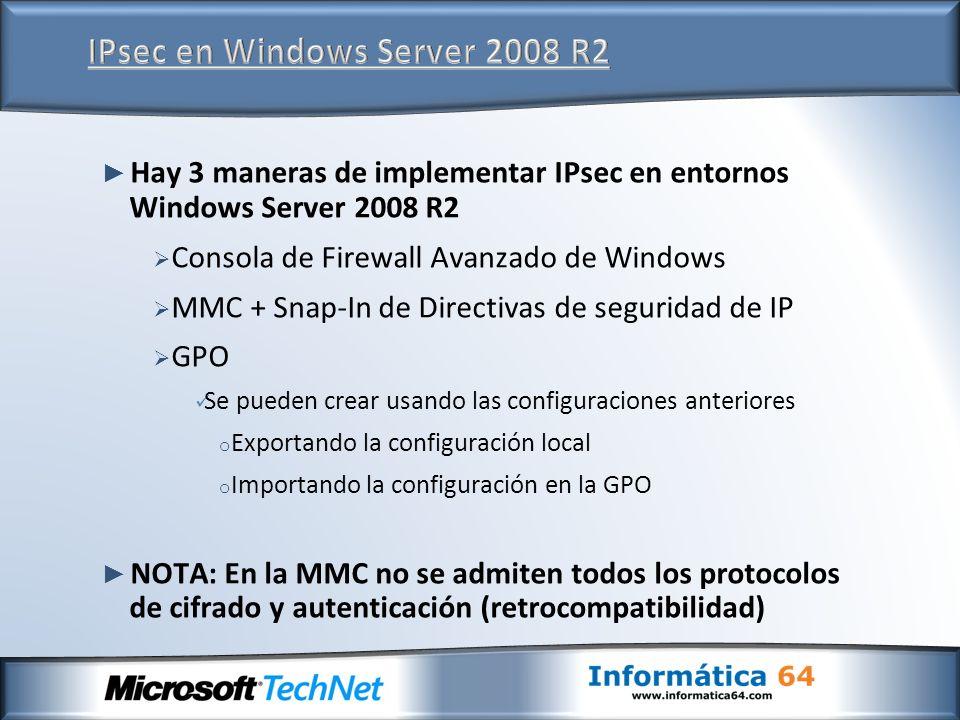 IPsec en Windows Server 2008 R2