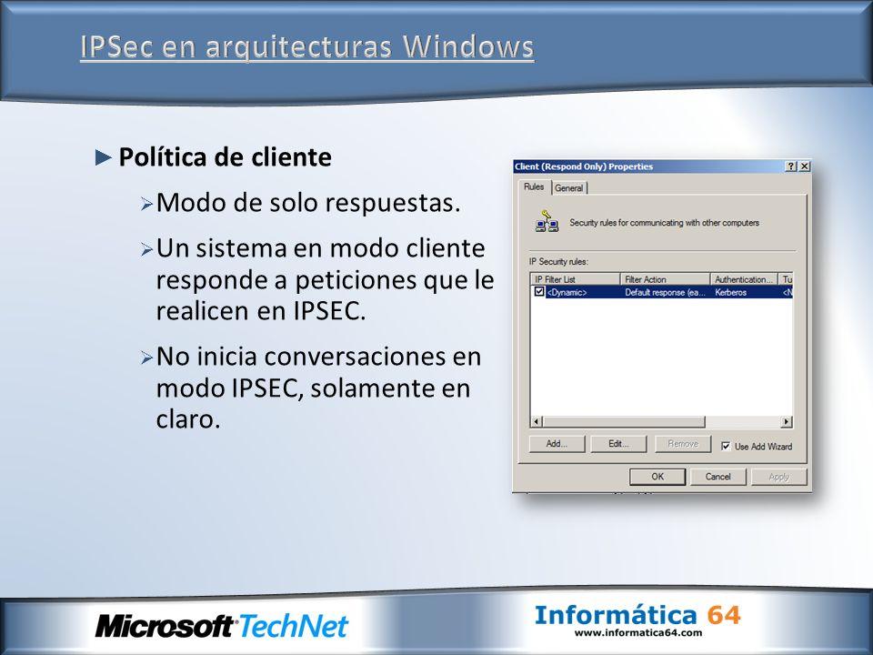 IPSec en arquitecturas Windows