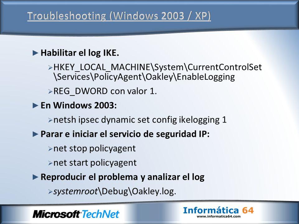 Troubleshooting (Windows 2003 / XP)