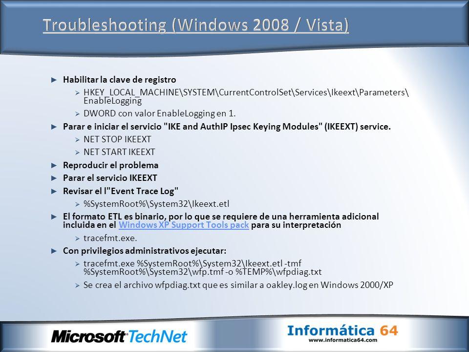 Troubleshooting (Windows 2008 / Vista)