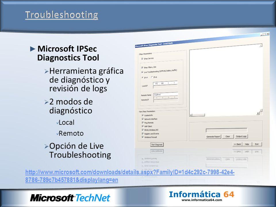 Troubleshooting Microsoft IPSec Diagnostics Tool