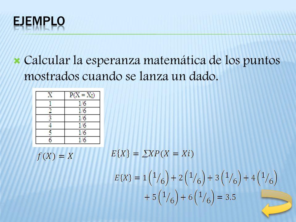 Ejemplo Calcular la esperanza matemática de los puntos mostrados cuando se lanza un dado.