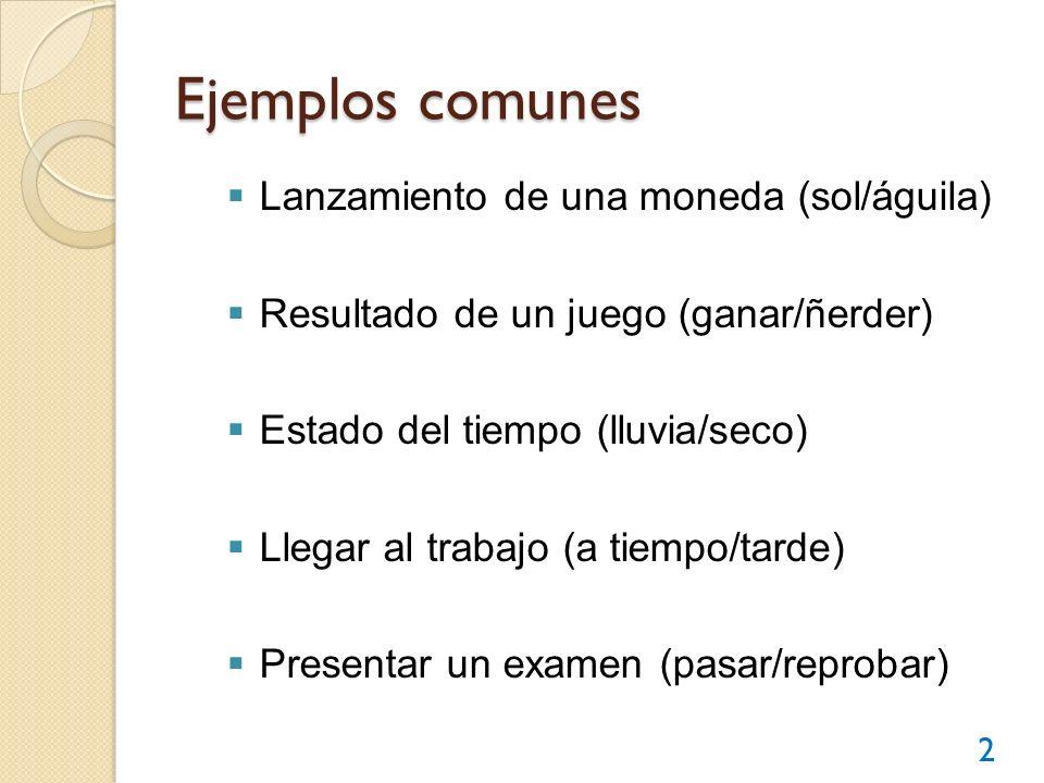 Ejemplos comunes Lanzamiento de una moneda (sol/águila)