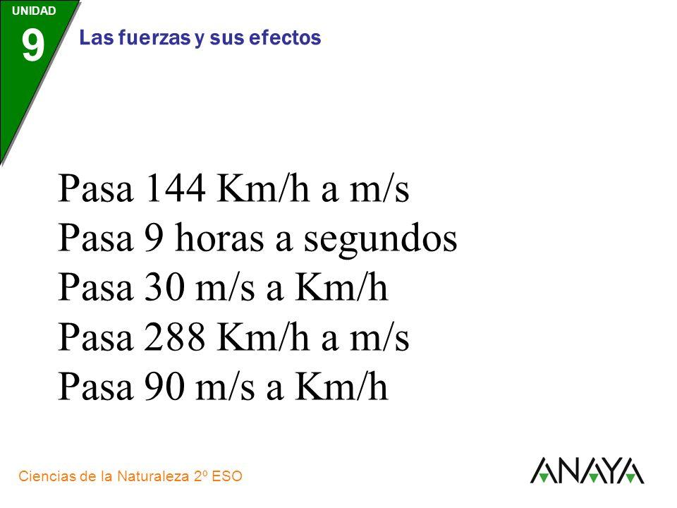 Pasa 144 Km/h a m/s Pasa 9 horas a segundos Pasa 30 m/s a Km/h Pasa 288 Km/h a m/s Pasa 90 m/s a Km/h