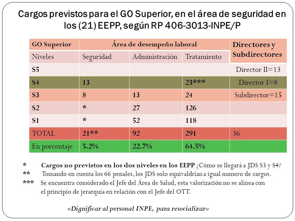 Cargos previstos para el GO Superior, en el área de seguridad en los (21) EEPP, según RP 406-3013-INPE/P