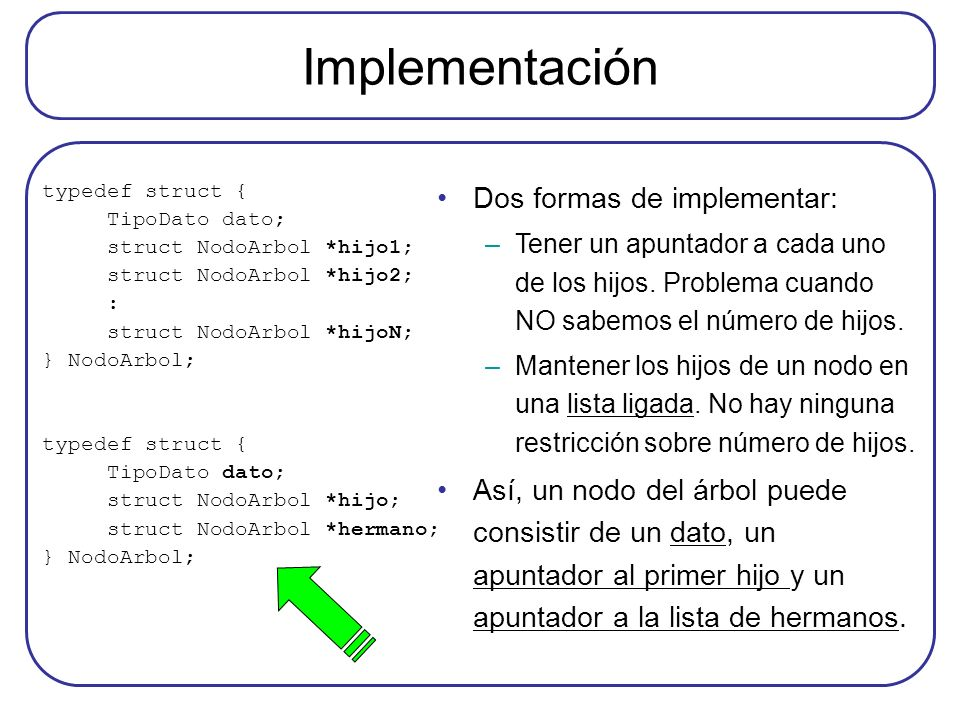 Implementación Dos formas de implementar: