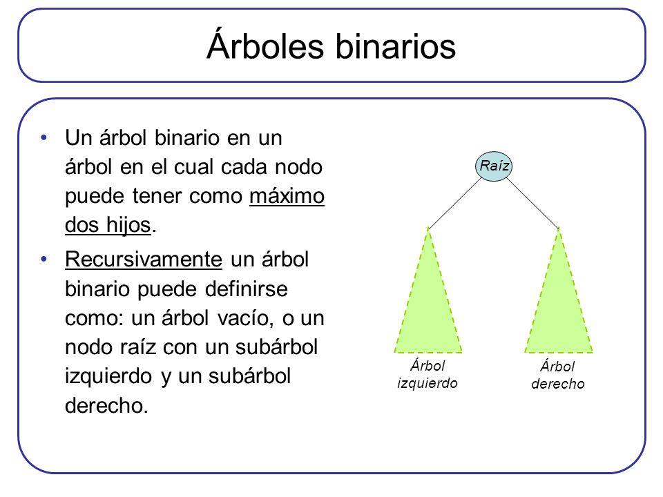 Árboles binarios Un árbol binario en un árbol en el cual cada nodo puede tener como máximo dos hijos.