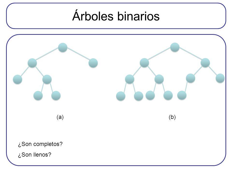 Árboles binarios (a) (b) ¿Son completos ¿Son llenos