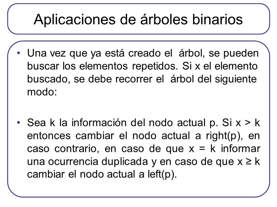 Aplicaciones de árboles binarios