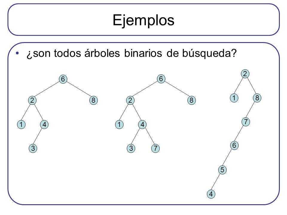 Ejemplos ¿son todos árboles binarios de búsqueda 2 7 1 8 6 5 4 6 2 8