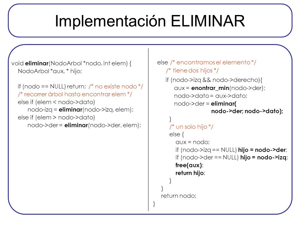 Implementación ELIMINAR