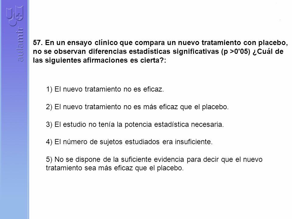 57. En un ensayo clínico que compara un nuevo tratamiento con placebo, no se observan diferencias estadísticas significativas (p >0 05) ¿Cuál de las siguientes afirmaciones es cierta :