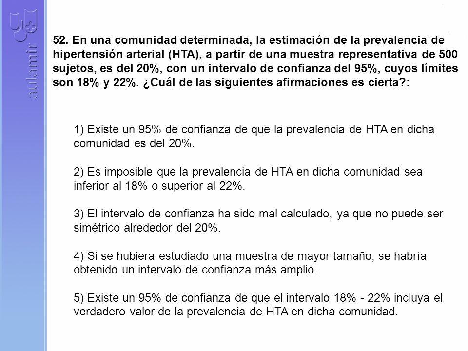 52. En una comunidad determinada, la estimación de la prevalencia de hipertensión arterial (HTA), a partir de una muestra representativa de 500 sujetos, es del 20%, con un intervalo de confianza del 95%, cuyos límites son 18% y 22%. ¿Cuál de las siguientes afirmaciones es cierta :