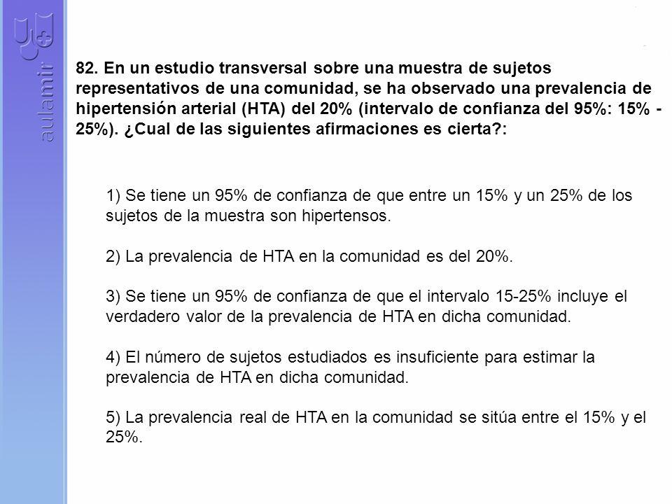 82. En un estudio transversal sobre una muestra de sujetos representativos de una comunidad, se ha observado una prevalencia de hipertensión arterial (HTA) del 20% (intervalo de confianza del 95%: 15% -25%). ¿Cual de las siguientes afirmaciones es cierta :