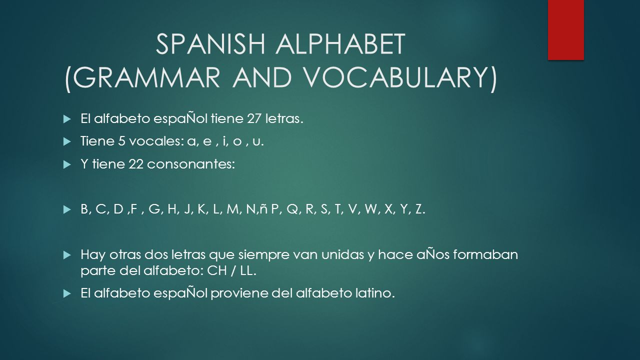 SPANISH ALPHABET (GRAMMAR AND VOCABULARY)