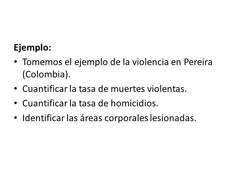 Ejemplo: Tomemos el ejemplo de la violencia en Pereira (Colombia). Cuantificar la tasa de muertes violentas.
